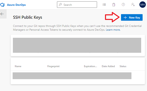 Azure DevOps Add SHH Key Step 2